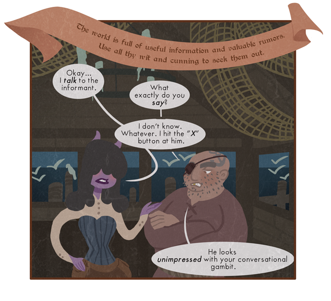 """There are innumerable fantasy worlds in the multiverse, each one full of its own bars and taverns. Most of these are full of adventurers feverishly tapping the """"talk button"""" at random patrons."""