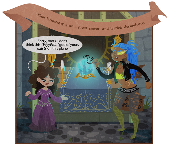 """Ever the savvy business halfling, Oracle later added a """"High Speed Connections: +5 GP"""" sign to her altar."""